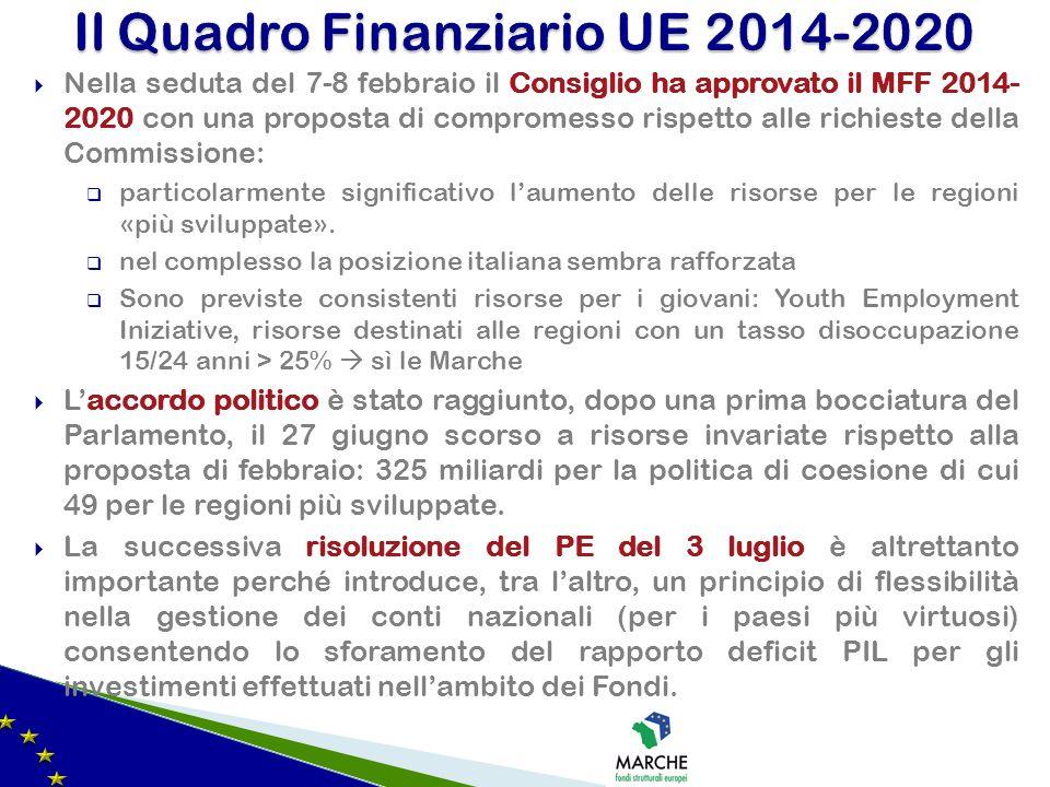 Nella seduta del 7-8 febbraio il Consiglio ha approvato il MFF 2014- 2020 con una proposta di compromesso rispetto alle richieste della Commissione: p