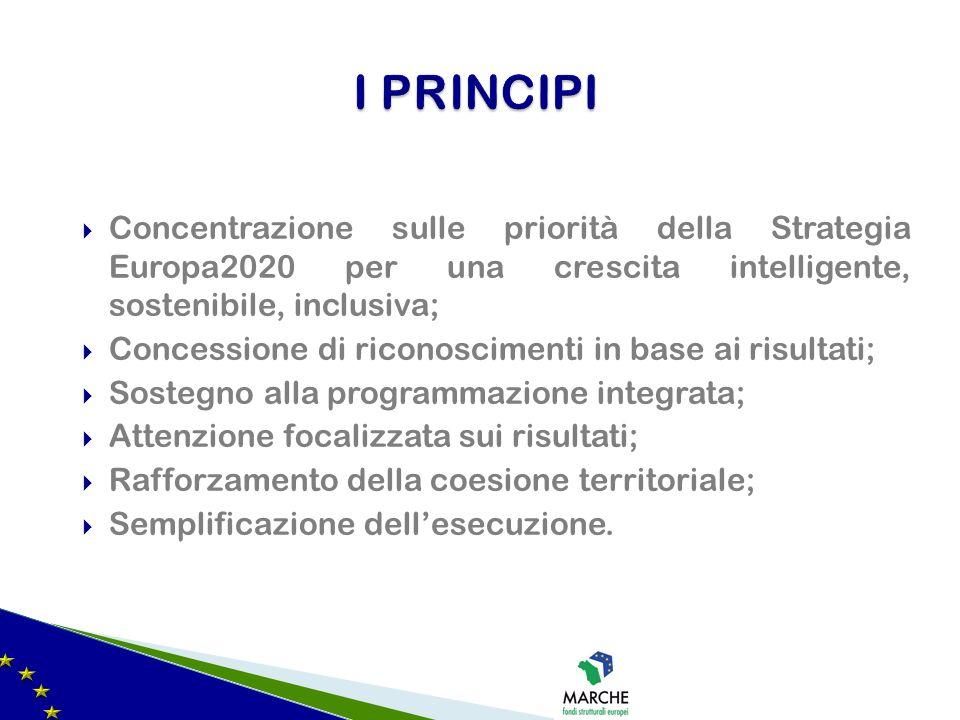 3 fasce di Regioni (più sviluppate, meno sviluppate e in transizione); Laccordo di partenariato; La concentrazione tematica; Il sistema delle condizionalità (ex ante, ex post e macroeconomica); Il sostegno alla programmazione integrata (ev.