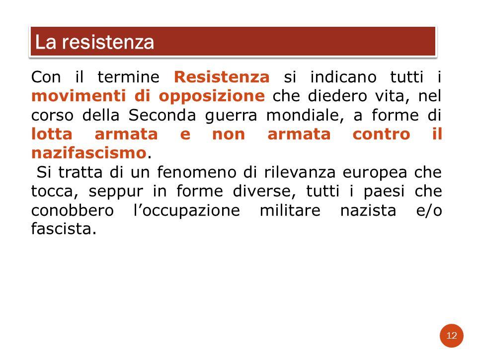 Con il termine Resistenza si indicano tutti i movimenti di opposizione che diedero vita, nel corso della Seconda guerra mondiale, a forme di lotta arm
