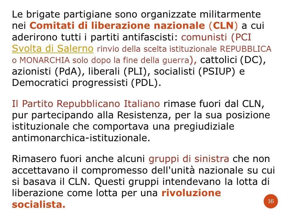 Le brigate partigiane sono organizzate militarmente nei Comitati di liberazione nazionale (CLN) a cui aderirono tutti i partiti antifascisti: comunist