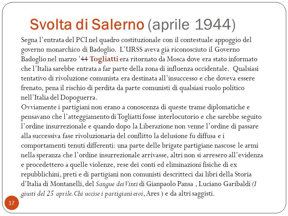 Svolta di Salerno (aprile 1944) 17 Segna lentrata del PCI nel quadro costituzionale con il contestuale appoggio del governo monarchico di Badoglio. LU