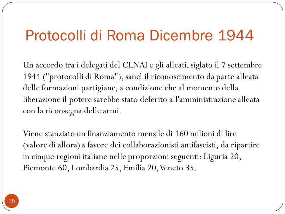 Protocolli di Roma Dicembre 1944 18 Un accordo tra i delegati del CLNAI e gli alleati, siglato il 7 settembre 1944 (