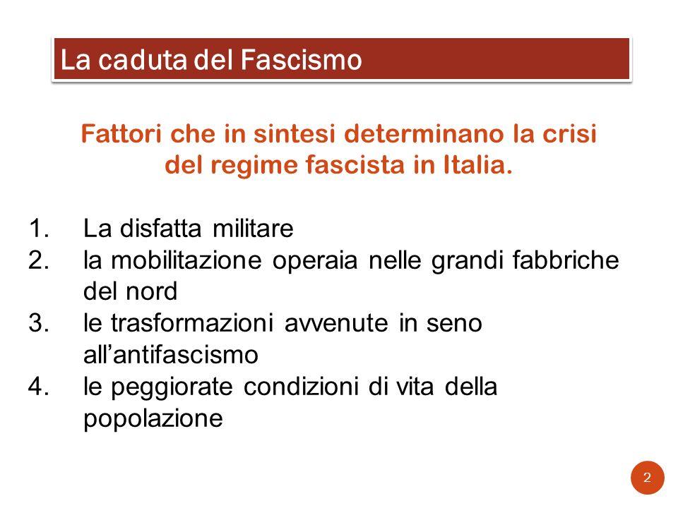 Fattori che in sintesi determinano la crisi del regime fascista in Italia. 1.La disfatta militare 2.la mobilitazione operaia nelle grandi fabbriche de