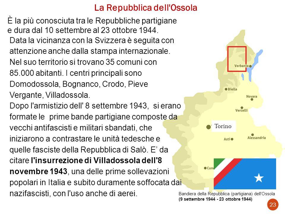 La Repubblica dell'Ossola Bandiera della Repubblica (partigiana) dell'Ossola (9 settembre 1944 - 23 ottobre 1944) 23 Torino È la più conosciuta tra le