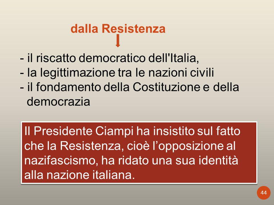 dalla Resistenza - il riscatto democratico dell'Italia, - la legittimazione tra le nazioni civili - il fondamento della Costituzione e della democrazi