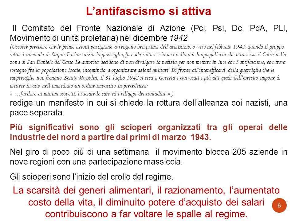 1943 13 maggio, capitolazione delle armate africane di tedeschi e italiani 10 luglio, americani e inglesi sbarcano in Sicilia 19 luglio, bombardata Roma 24-25 luglio, nella seduta del Gran Consiglio del Fascismo Mussolini viene messo in minoranza e destituito.