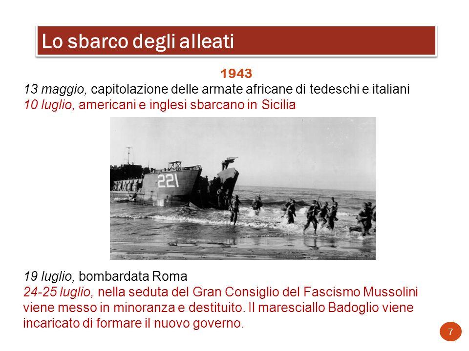 1943 13 maggio, capitolazione delle armate africane di tedeschi e italiani 10 luglio, americani e inglesi sbarcano in Sicilia 19 luglio, bombardata Ro