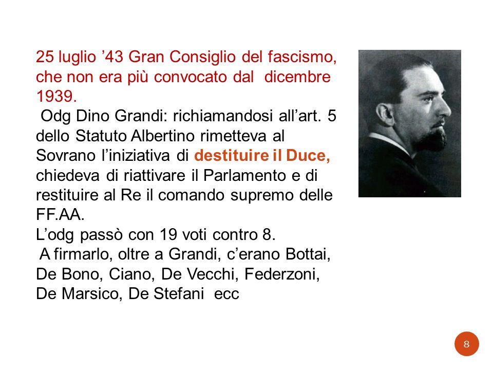 25 luglio 43 Gran Consiglio del fascismo, che non era più convocato dal dicembre 1939. Odg Dino Grandi: richiamandosi allart. 5 dello Statuto Albertin
