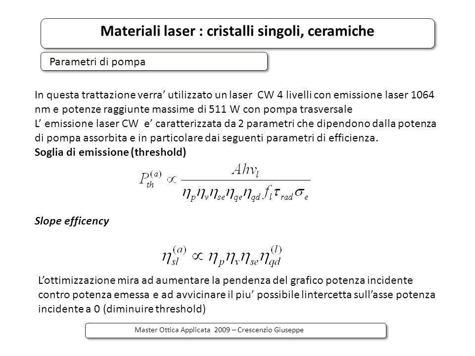 Materiali laser : cristalli singoli, ceramiche Master Ottica Applicata 2009 – Crescenzio Giuseppe Parametri di pompa In questa trattazione verra utili