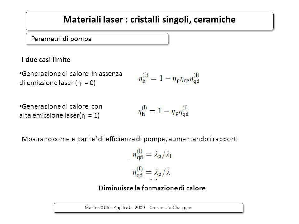 Materiali laser : cristalli singoli, ceramiche Master Ottica Applicata 2009 – Crescenzio Giuseppe I due casi limite Generazione di calore in assenza d