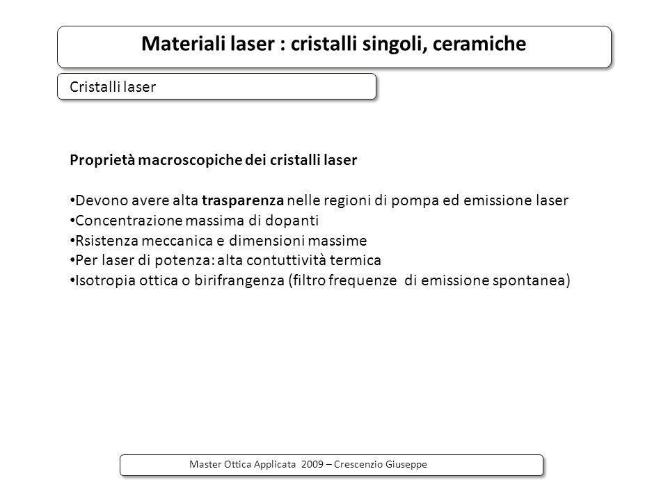 Materiali laser : cristalli singoli, ceramiche Master Ottica Applicata 2009 – Crescenzio Giuseppe Il laser CW 1064 nm, sotto pompaggio diretto con 885 nm al livello di emissione di Nd3+ in ceramica YAG (with up to 6.8 at.% Nd, Ti:sapphire e diode laser pumping), ha mostrato migliori parametri laser (slope efficency e threshold) rispetto al tradizionale con pompa a 809 nm 4 livelli.