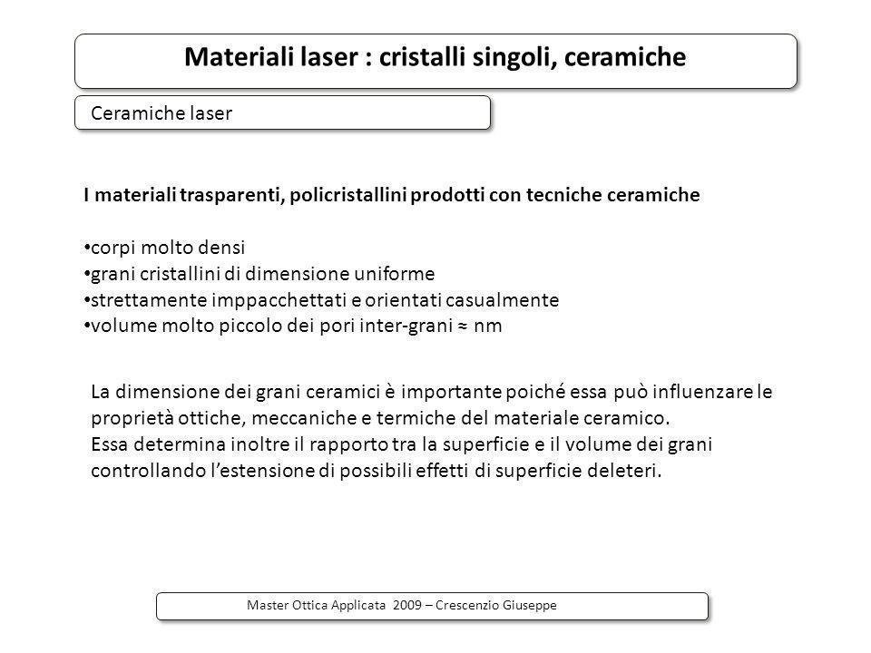 Materiali laser : cristalli singoli, ceramiche Master Ottica Applicata 2009 – Crescenzio Giuseppe Esiste un limite fisico all aumento di concetrazione di dopanti : cross-relaxation energy transfer L alta concentrazione di Nd puo ridurre lefficienza quantica di emissione a causa del trasferimento di energia tra ioni di Nd 3+ ( 4 F 3/2, 4 I 9/2 )->( 4 I 15/2, 4 I 15/2 ) Extra