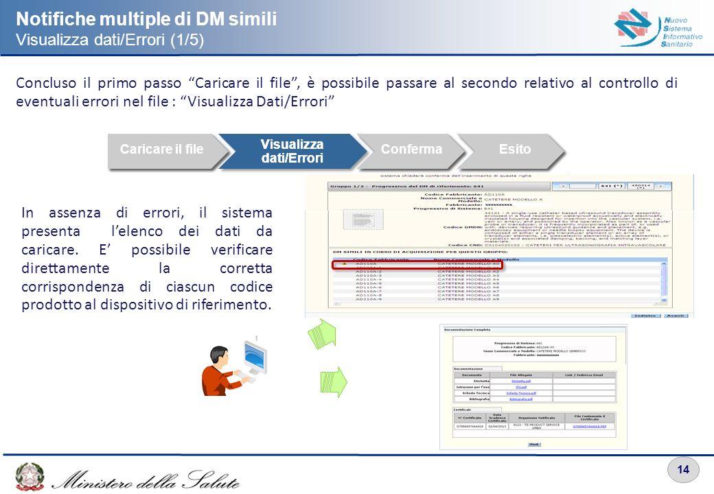 14 Notifiche multiple di DM simili Visualizza dati/Errori (1/5) Concluso il primo passo Caricare il file, è possibile passare al secondo relativo al c