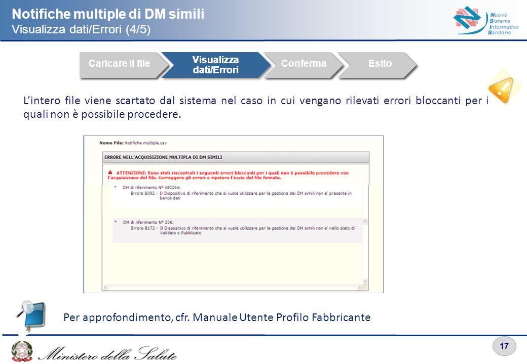 17 Notifiche multiple di DM simili Visualizza dati/Errori (4/5) Caricare il file Visualizza dati/Errori ConfermaEsito Caricare il file Visualizza dati