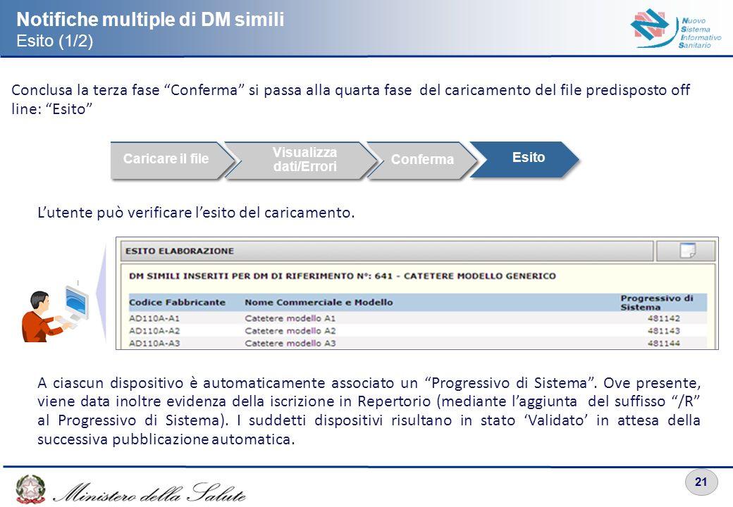 21 Notifiche multiple di DM simili Esito (1/2) Conclusa la terza fase Conferma si passa alla quarta fase del caricamento del file predisposto off line
