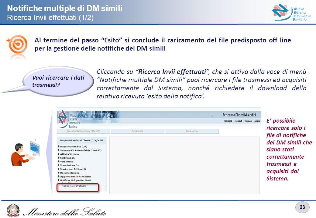 23 Notifiche multiple di DM simili Ricerca Invii effettuati (1/2) Cliccando su Ricerca Invii effettuati, che si attiva dalla voce di menù Notifiche mu