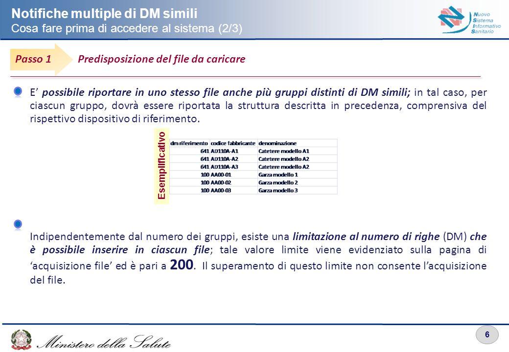 6 E possibile riportare in uno stesso file anche più gruppi distinti di DM simili; in tal caso, per ciascun gruppo, dovrà essere riportata la struttur
