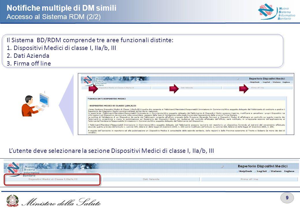 9 Notifiche multiple di DM simili Accesso al Sistema RDM (2/2) Il Sistema BD/RDM comprende tre aree funzionali distinte: 1. Dispositivi Medici di clas