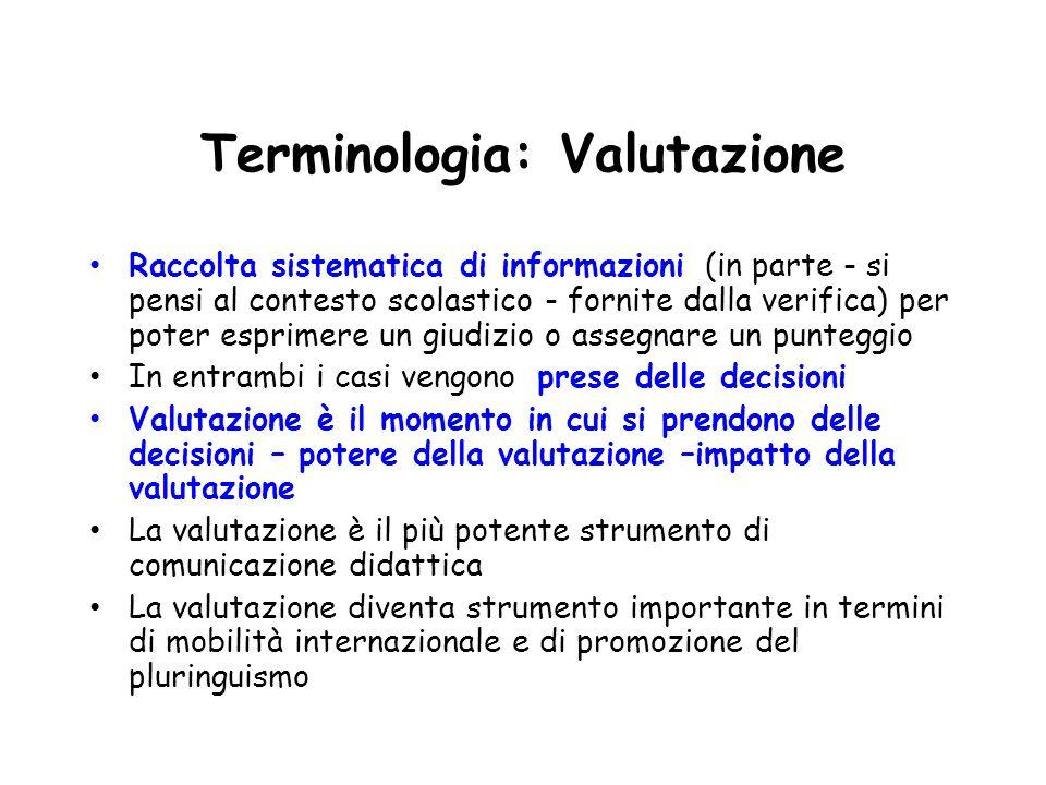 Terminologia: Valutazione Raccolta sistematica di informazioni (in parte - si pensi al contesto scolastico - fornite dalla verifica) per poter esprime