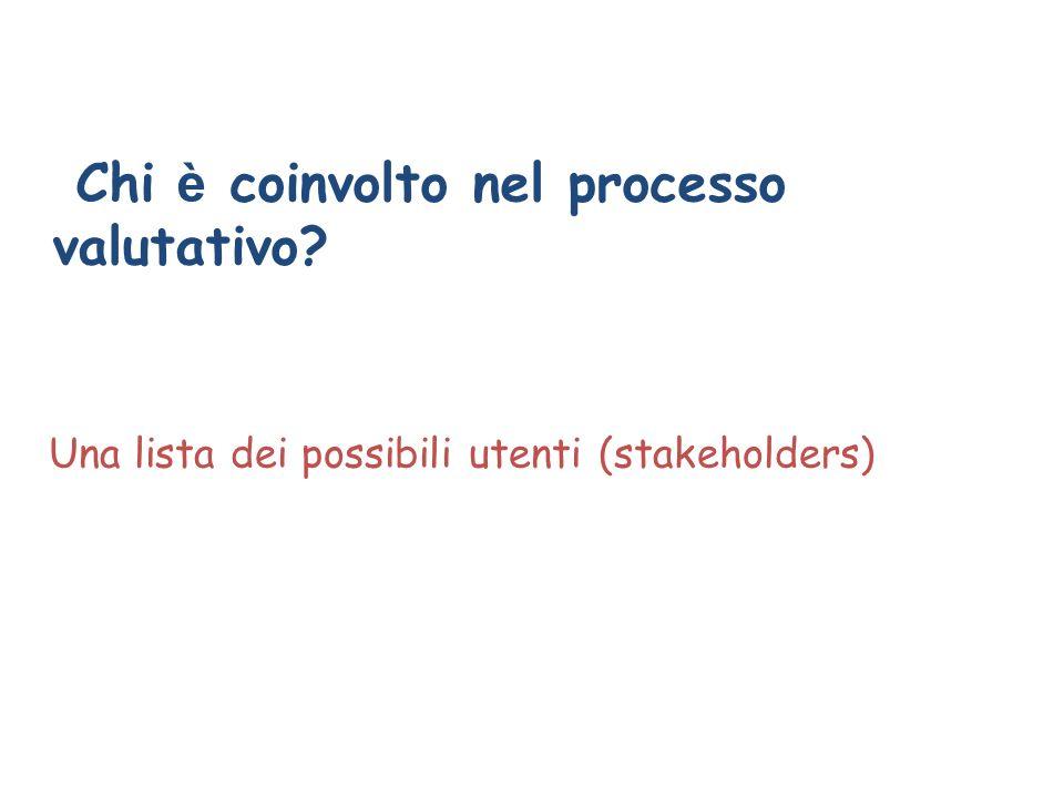 Chi è coinvolto nel processo valutativo? Una lista dei possibili utenti (stakeholders)