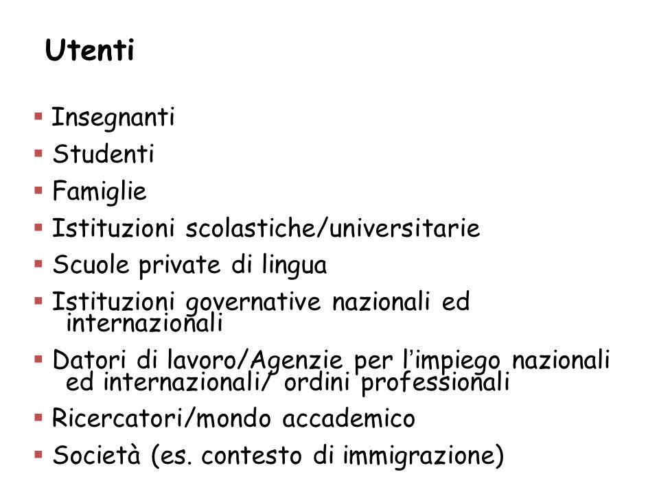 Utenti Insegnanti Studenti Famiglie Istituzioni scolastiche/universitarie Scuole private di lingua Istituzioni governative nazionali ed internazionali
