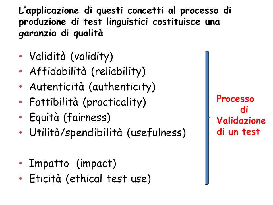 Lapplicazione di questi concetti al processo di produzione di test linguistici costituisce una garanzia di qualità Validità (validity) Affidabilità (r