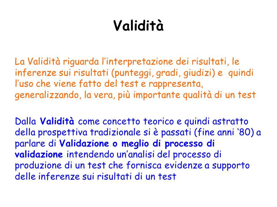 Validità La Validità riguarda linterpretazione dei risultati, le inferenze sui risultati (punteggi, gradi, giudizi) e quindi luso che viene fatto del