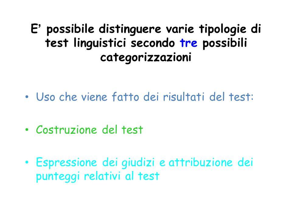 E possibile distinguere varie tipologie di test linguistici secondo tre possibili categorizzazioni Uso che viene fatto dei risultati del test: Costruz