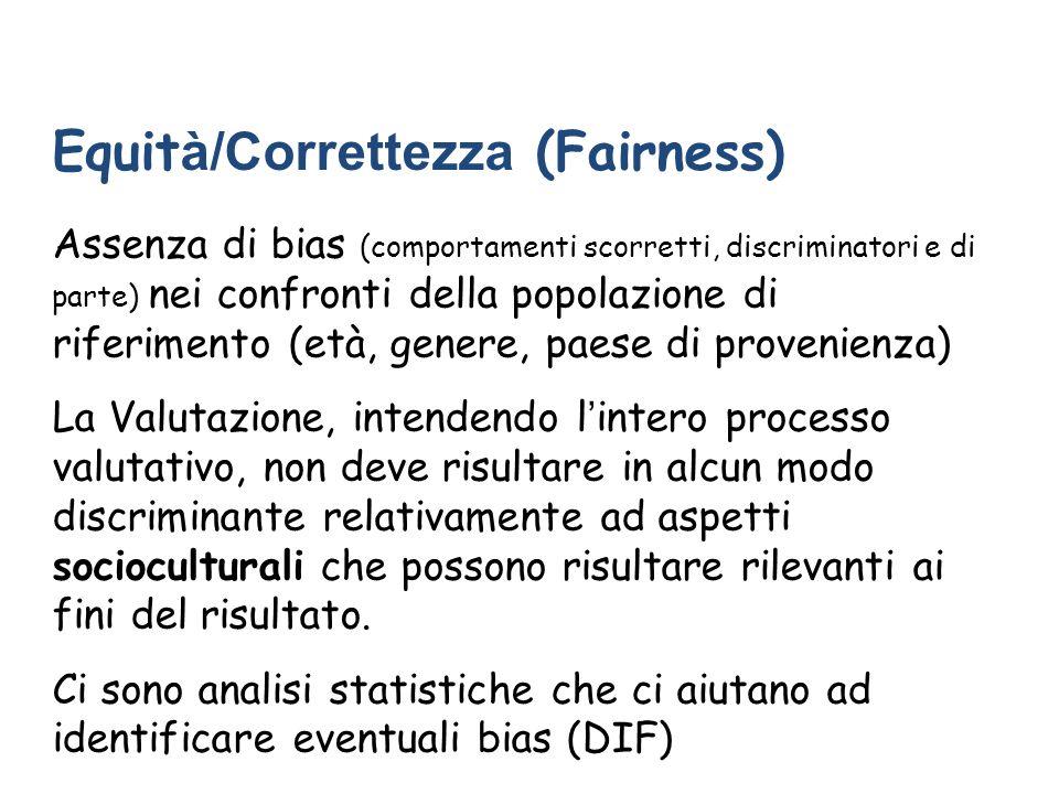 Equit à/Correttezza (Fairness) Assenza di bias (comportamenti scorretti, discriminatori e di parte) nei confronti della popolazione di riferimento (et