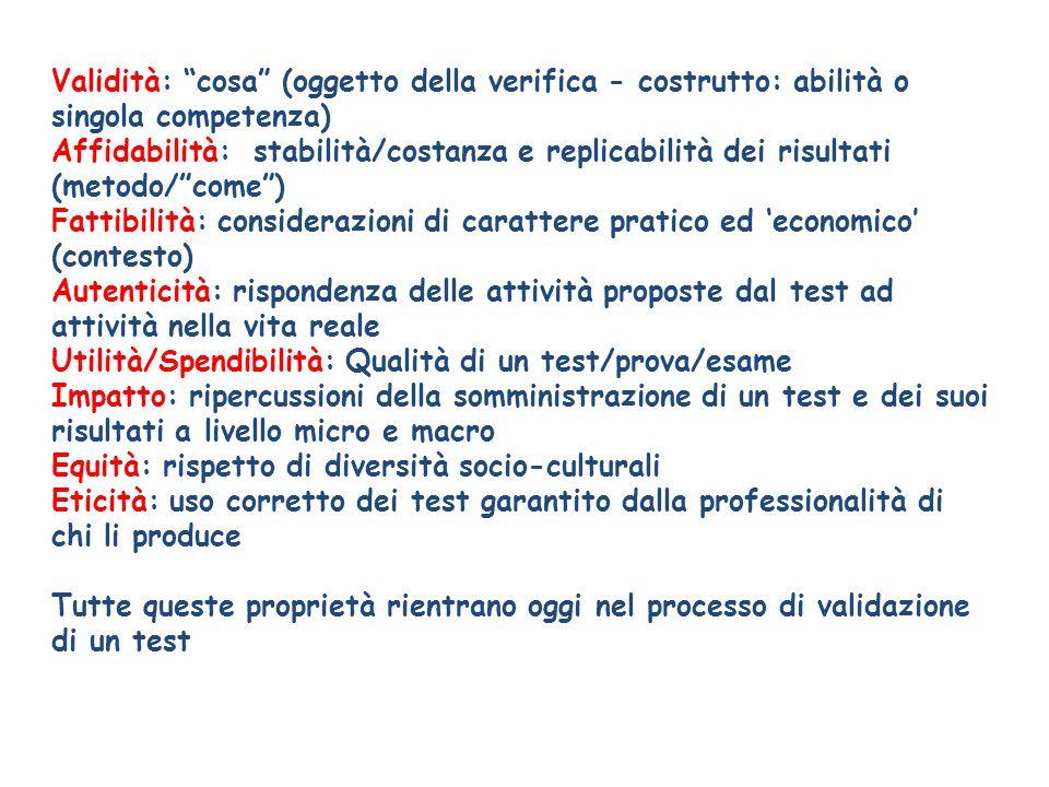 Validità: cosa (oggetto della verifica - costrutto: abilità o singola competenza) Affidabilità: stabilità/costanza e replicabilità dei risultati (meto