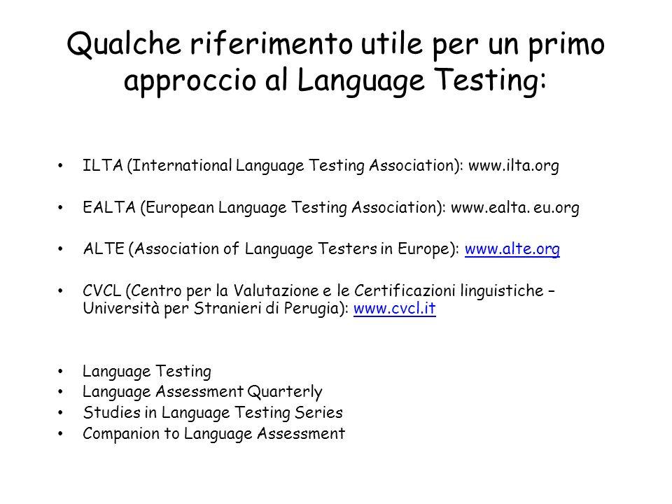 Qualche riferimento utile per un primo approccio al Language Testing: ILTA (International Language Testing Association): www.ilta.org EALTA (European