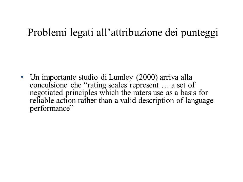 Problemi legati allattribuzione dei punteggi Un importante studio di Lumley (2000) arriva alla conculsione che rating scales represent … a set of nego