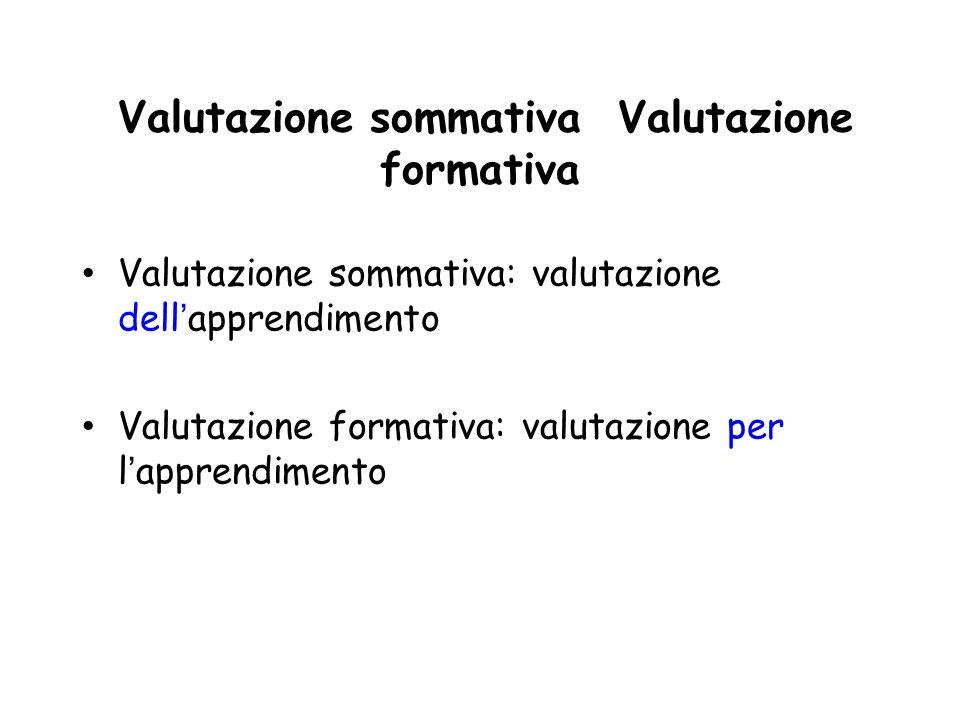 Valutazione sommativa Valutazione formativa Valutazione sommativa: valutazione dellapprendimento Valutazione formativa: valutazione per lapprendimento