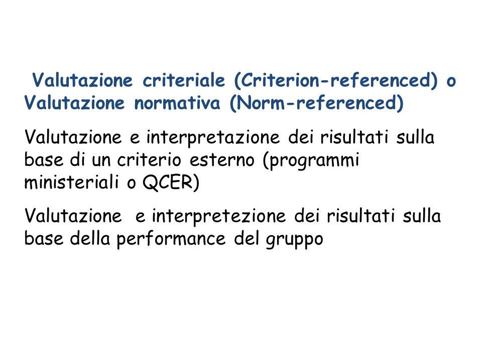 Valutazione criteriale (Criterion-referenced) o Valutazione normativa (Norm-referenced) Valutazione e interpretazione dei risultati sulla base di un c