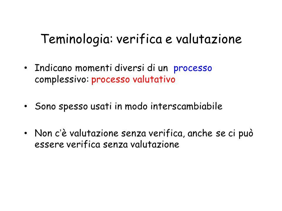 Teminologia: verifica e valutazione Indicano momenti diversi di un processo complessivo: processo valutativo Sono spesso usati in modo interscambiabil