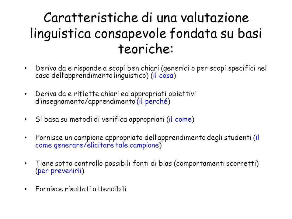Caratteristiche di una valutazione linguistica consapevole fondata su basi teoriche: Deriva da e risponde a scopi ben chiari (generici o per scopi spe