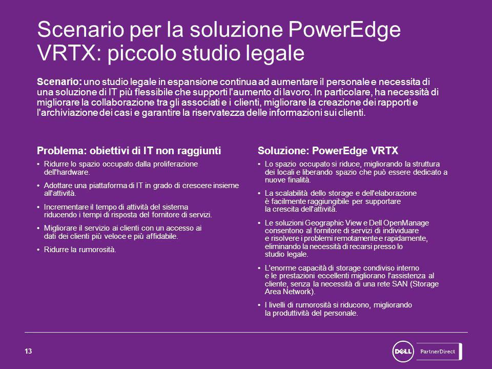 13 Scenario per la soluzione PowerEdge VRTX: piccolo studio legale Scenario: uno studio legale in espansione continua ad aumentare il personale e necessita di una soluzione di IT più flessibile che supporti l aumento di lavoro.