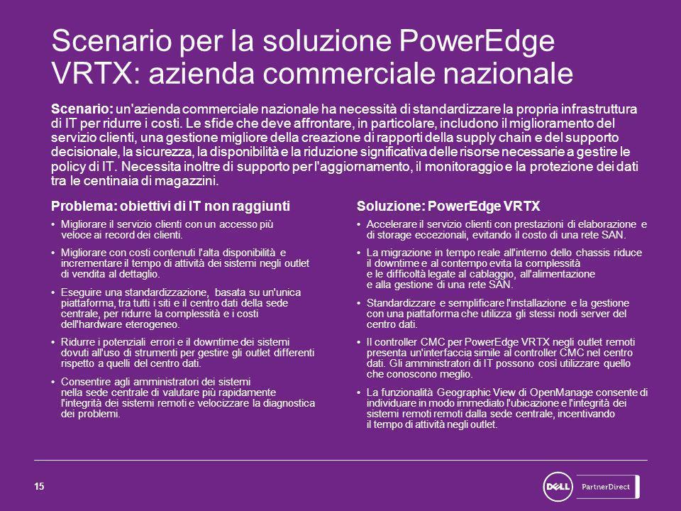 15 Scenario per la soluzione PowerEdge VRTX: azienda commerciale nazionale Scenario: un azienda commerciale nazionale ha necessità di standardizzare la propria infrastruttura di IT per ridurre i costi.