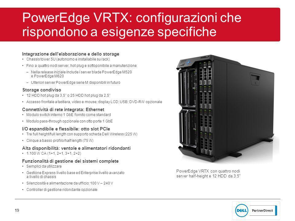 19 PowerEdge VRTX: configurazioni che rispondono a esigenze specifiche Integrazione dell elaborazione e dello storage Chassis tower 5U (autonomo e installabile su rack) Fino a quattro nodi server, hot plug e sottoponibile a manutenzione –Nella release iniziale include i server blade PowerEdge M520 e PowerEdge M620 –Ulteriori server PowerEdge serie M disponibili in futuro Storage condiviso 12 HDD hot plug da 3,5 o 25 HDD hot plug da 2,5 Accesso frontale a tastiera, video e mouse; display LCD; USB; DVD-RW opzionale Connettività di rete integrata: Ethernet Modulo switch interno 1 GbE fornito come standard Modulo pass-through opzionale con otto porte 1 GbE I/O espandibile e flessibile: otto slot PCIe Tre full height/full length con supporto scheda Dell Wireless (225 W) Cinque a basso profilo/half length (75 W) Alta disponibilità: ventole e alimentatori ridondanti 1.100 W CA (1+1, 2+1, 3+1, 2+2) Funzionalità di gestione dei sistemi complete Semplici da utilizzare Gestione Express livello base ed Enterprise livello avanzato a livello di chassis Silenziosità e alimentazione da ufficio: 100 V – 240 V Controller di gestione ridondante opzionale PowerEdge VRTX con quattro nodi server half-height e 12 HDD da 3,5