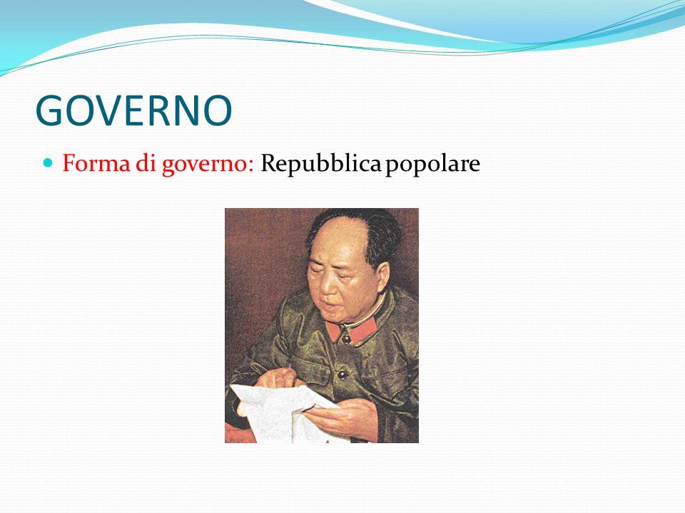 GOVERNO Forma di governo: Repubblica popolare