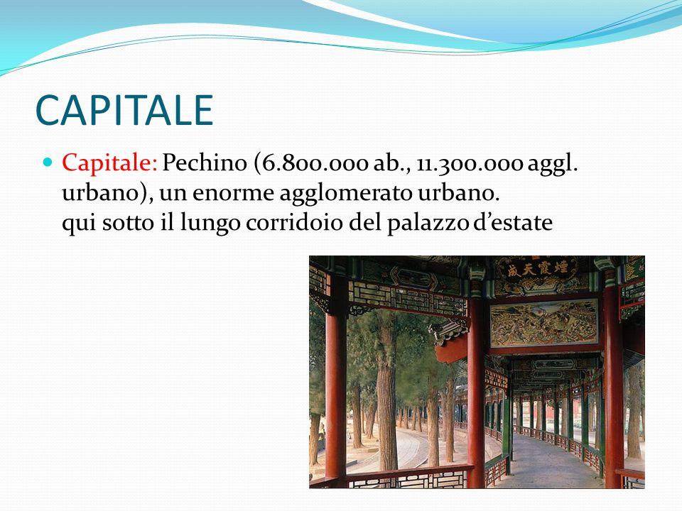CAPITALE Capitale: Pechino (6.800.000 ab., 11.300.000 aggl. urbano), un enorme agglomerato urbano. qui sotto il lungo corridoio del palazzo destate