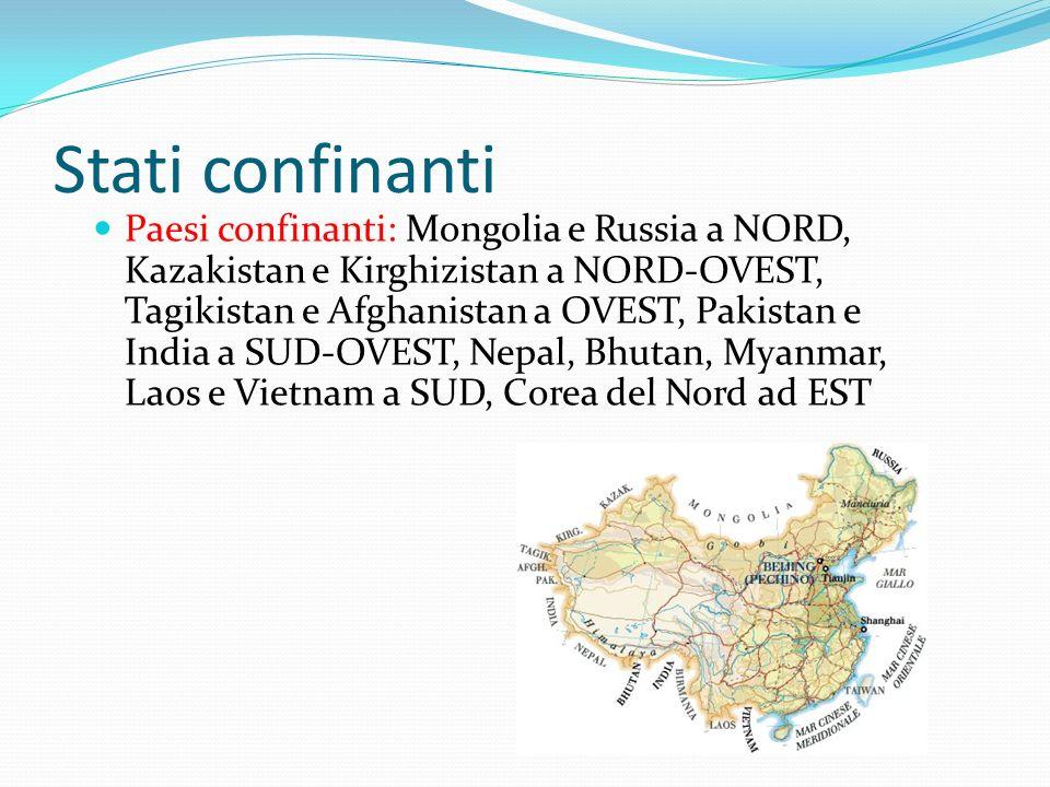Stati confinanti Paesi confinanti: Mongolia e Russia a NORD, Kazakistan e Kirghizistan a NORD-OVEST, Tagikistan e Afghanistan a OVEST, Pakistan e Indi