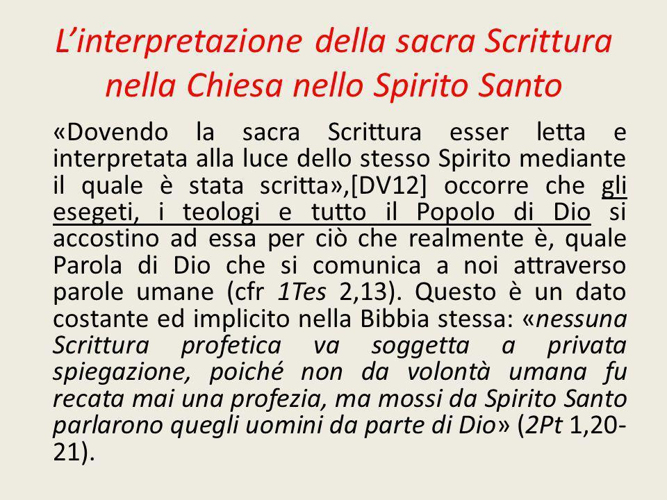 I sensi della Scrittura Il senso spirituale.