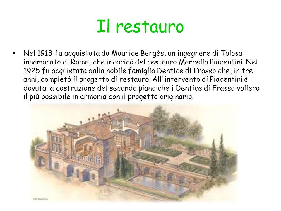 Il restauro Nel 1913 fu acquistata da Maurice Bergès, un ingegnere di Tolosa innamorato di Roma, che incaricò del restauro Marcello Piacentini. Nel 19