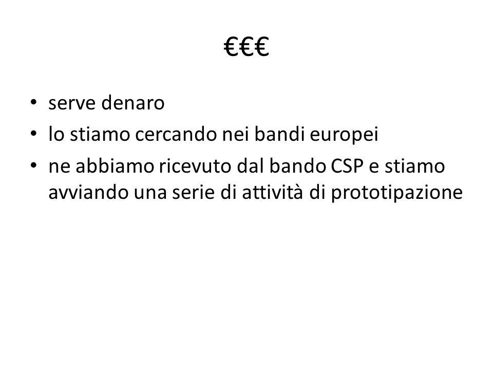 serve denaro lo stiamo cercando nei bandi europei ne abbiamo ricevuto dal bando CSP e stiamo avviando una serie di attività di prototipazione