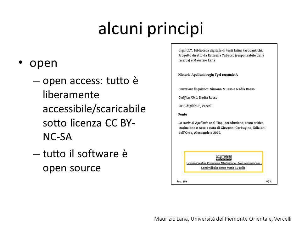 Maurizio Lana, Università del Piemonte Orientale, Vercelli alcuni principi open – open access: tutto è liberamente accessibile/scaricabile sotto licen