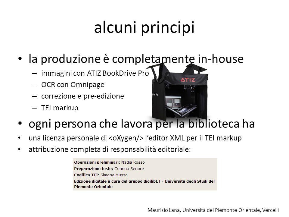 Maurizio Lana, Università del Piemonte Orientale, Vercelli alcuni principi la produzione è completamente in-house – immagini con ATIZ BookDrive Pro –