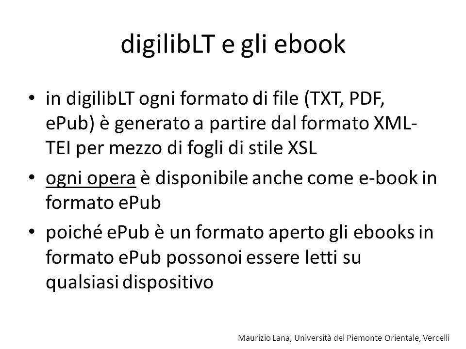 Maurizio Lana, Università del Piemonte Orientale, Vercelli digilibLT e gli ebook in digilibLT ogni formato di file (TXT, PDF, ePub) è generato a parti