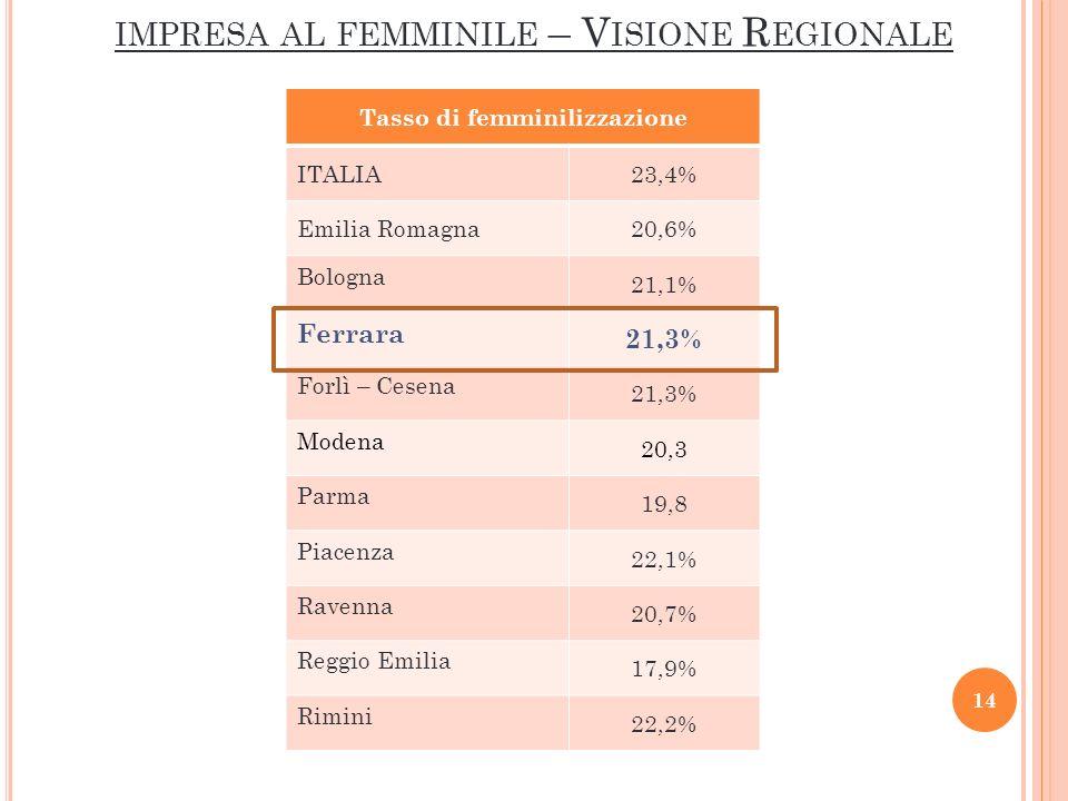 IMPRESA AL FEMMINILE – V ISIONE R EGIONALE Tasso di femminilizzazione ITALIA23,4% Emilia Romagna20,6% Bologna 21,1% Ferrara 21,3% Forlì – Cesena 21,3% Modena 20,3 Parma 19,8 Piacenza 22,1% Ravenna 20,7% Reggio Emilia 17,9% Rimini 22,2% 14