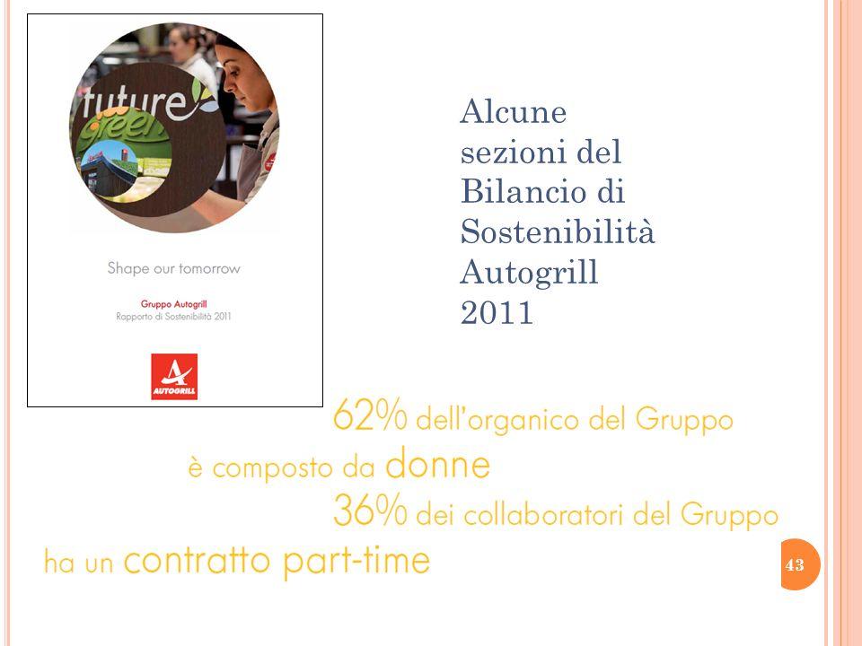 43 Alcune sezioni del Bilancio di Sostenibilità Autogrill 2011
